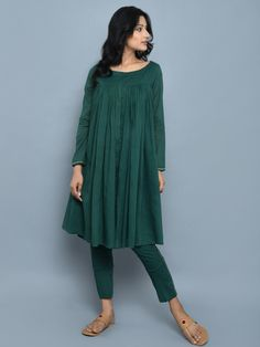 Emerald Green Cotton Kedia Style Kurta with Pants - Set of 2 Pakistani Dresses Casual, Spring Dresses Casual, Trendy Dresses, Simple Dresses, Indian Dresses, Indian Outfits, Fashion Dresses, Dress Casual, Dress Summer