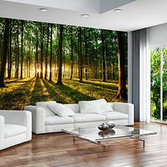 Huge wall mural photo wallpaper non-woven Forest Sunset Landscap Poster Mural, Mural Wall Art, Photo Wallpaper, Wall Wallpaper, Wallpaper Ideas, Nature Wallpaper, Forest Wallpaper, Unique Wallpaper, Home Wall Decor