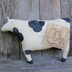 Country Cow, Farm Animal, Country Primitive Decor, Rustic Farmhouse, Black and White Spotted Cow