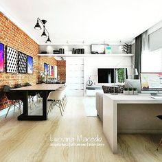 https://www.instagram.com/lucianamacedo.arquitetura/  Sala do dia. Tijolinho. 😍😍😍 #artdecor #designs #descolado #inspiration #arquitectura #arquitetura #decorado #decor #livingroom #decoração #architect #arch #designhome #designdeinteriores #arquiteturadeinteriores #render_contest #render #3dvisualization #sketchup3d #insta #igers #instagood #instamood #arquiteta #archilovers #designlovers #monday #work #art