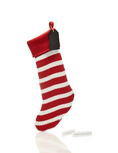 M&S Red & White Knitted Christmas Stocking £19.50 3-for-2