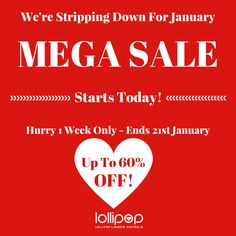 January MEGA #SALE started! 1 Week Only! Sexy #Lingerie, #Costumes and Footwear 20 - 60% OFF! Hurry to get your #deals for #Valentine's Day. Gift Ideas in Sale > http://lollipoplingerie.com.au http://lollipoplingerie.com.au