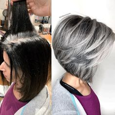 Blowing Hair Transformation Before & After Photos , . Mind Blowing Hair Transformation Before & After Photos , Mind Blowing Hair Transformation Before & After Photos , Grey Wig, Short Grey Hair, Short Hair Cuts, Short Silver Hair, Grey Hair Transformation, Gray Hair Highlights, Gray Hair Growing Out, Short Bob Hairstyles, Scene Hairstyles