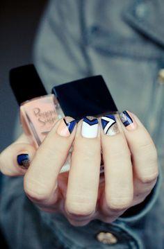 Peach and Blue geometric mani