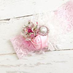 Pink white headband-lace rosette tulle garden floral print headband