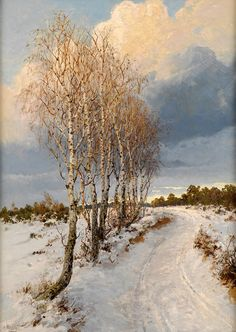 Albert Ernst Mühlig (1862-1909), Paysage d'Hiver.