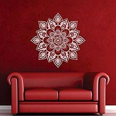 """mairgwall Namaste Fleurs Mandala indien mur en lotus Yoga Papier peint Décoration murale religieuse Home Art, Vinyle, Blanc, 46""""hx46""""w"""