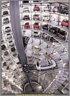 Hi-Tech Parking Garage....That is the snazziest, Star Wars-y-looking garage ever...