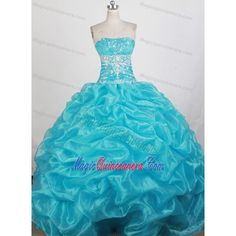 Beading Strapless Aqua Blue Quinceanera Dress with Pick Up and Ruche ($9.99) ❤ liked on Polyvore featuring dresses, blue beaded dress, rouched dress, blue strapless dress, blue dress and strapless ruched dress