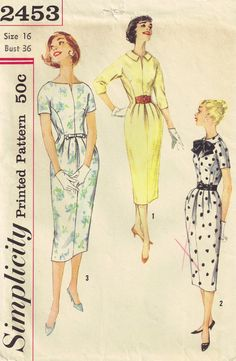 1950s Simplicity Pattern Front Pleat Dress via Etsy.