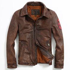 2017 New Retro Vintage Brown Leather Jacket