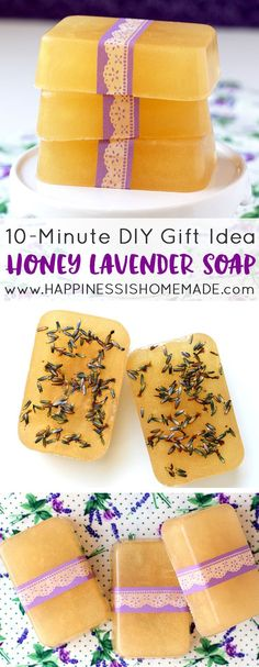 This Honey Lavender Soap smells amazing, and you can whip up a batch in just a few minutes! Makes a great DIY homemade holiday gift idea!