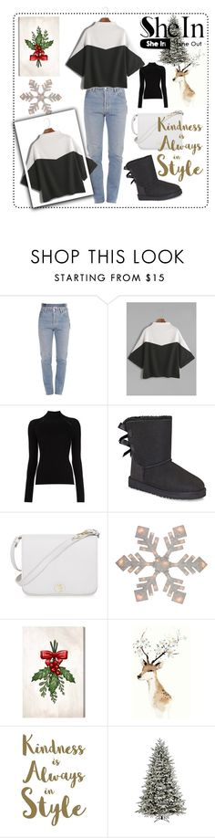 """""""/Color-Block-Mock-Neck-Slit-Side-Cuffed-T-shirt-"""" by senseofstyle1 ❤ liked on Polyvore featuring Vetements, Misha Nonoo, UGG, Furla, Oliver Gal Artist Co., Sixtrees and GE"""