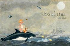 Geboortekaartje meisje - schattig meisje met eekhoorn op dolfijn - Pimpelpluis - https://www.facebook.com/pages/Pimpelpluis/188675421305550?ref=hl (# zee - golven - dolfijn - eekhoorn - vlinder - vogel - maan - eend - schip - dieren - boot - wolken - vintage paper doll - lief - schattig - origineel)