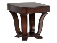 Elegantly curved rich mahogany columns + a hidden drawer | Boulevard End Table cort.com