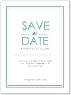 Subtle Shine - Signature Letterpress Save the Dates - Magnolia Press - Aqua - Blue : Front