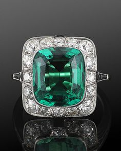 Art Deco 3.60ct Natural Colombian Emerald, Diamond and Onyx Ring, circa 1920