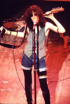 Patti Smith on stage atCBGB's, 1977.