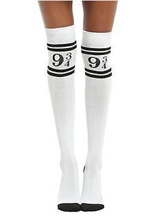 "<p>White over-the-knee socks from <i>Harry Potter</i> featuring a Hogwarts Express themed ""9 3/4"" varsity stripe design.</p>  <ul> <li style=""LIST-STYLE-POSITION: outside !important; LIST-STYLE-TYPE: disc !important"">One size fits most</li> <li style=""LIST-STYLE-POSITION: outside !important; LIST-STYLE-TYPE: disc !important"">70% polyester, 20% nylon, 10% spandex</li> <li style=""LIST-STYLE-POSITION: outside !important; LIST-STYLE-TYPE: disc !important"">Wash cold; dry low</li> <l..."