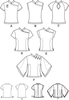 Cheongsam top or shirt pattern. Dress Sewing Patterns, Sewing Patterns Free, Clothing Patterns, Mode Kimono, Sewing Blouses, Chinese Clothing, Chinese Dresses, Cheongsam Dress, Top Pattern