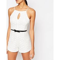 Ariana Grande for Lipsy Daisy Lace Belted Playsuit ($65) ❤ liked on Polyvore featuring jumpsuits, rompers, tall romper, lace romper, white lace rompers, white lace romper and white rompers