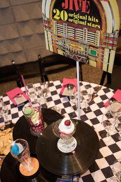 Sock hop-Checkered linens-albumns by Gold Events, via Flickr