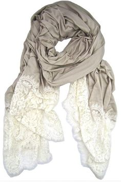 grey/lace scarf elfsacks, I may or may not have a slight obsession with scarves. Pretty crazy since I live in Fl Look Fashion, Fashion Beauty, Autumn Fashion, Womens Fashion, High Fashion, Fashion Clothes, Fashion Jewelry, Looks Style, Style Me