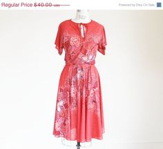 10 Off Sale Vintage 70's Boho Geranium Red by perniejaynevintage, $36.00