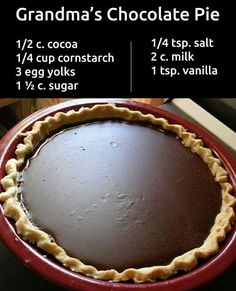 Granny's Cocoa Cream Pie It's simple and tasty. This really was a simple desert often used during the and ½ c. cocoa ¼ cup cornstarch/or arrowroot powder (or ½ c. all purpose flour) 3 egg yolks 1 ½ c. salt 2 c. Just Desserts, Delicious Desserts, Yummy Food, Pie Dessert, Dessert Recipes, Breakfast Recipes, Dinner Recipes, Grandma's Chocolate Pie, Chocolate Pudding