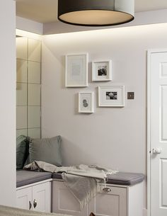 Bespoke Bench Seating and Mirror Wall Tiles Residential Interior Design, Home Interior Design, Interior Architecture, Linear Lighting, Strip Lighting, Mirror Wall Tiles, Storage Bench Seating, Interior Design Inspiration, Furniture Design