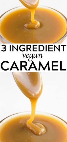 Vegan Caramel Sauce, made with only 3 ingredients! Vegan Caramel Sauce, made with only 3 ingredients!Vegan Caramel Sauce, made with only 3 ingredients! Desserts Végétaliens, Vegan Dessert Recipes, Dairy Free Recipes, Whole Food Recipes, Holiday Desserts, Vegan Recipes 3 Ingredients, Gluten Free, Non Dairy Desserts, Food Deserts