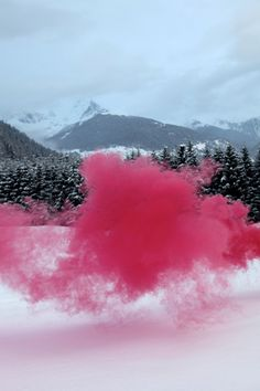 Smoke bombs ignited in the North Italian mountains, taken last weekend by Filippo Minelli.