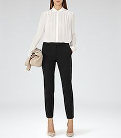 Womens Off White Pleat-front Top - Reiss Carey
