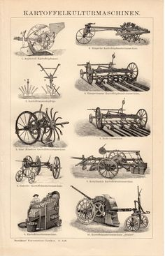 1884 Agricultural Machines Antique Print Farming by Craftissimo Antique Tractors, Old Tractors, Antique Cars, Vintage Farm, Vintage Tools, Agricultural Tools, Crop Protection, Tractor Attachments, Old Farm Equipment