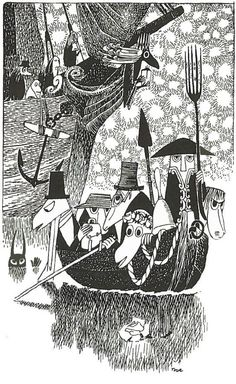 """""""The Hunting of the Snark"""" by Lewis Carroll. Illustrated by Tove Jansson Art And Illustration, Black And White Illustration, Tove Jansson, Alphonse Mucha, Les Moomins, Lewis Carroll, Grafik Design, Troll, Fantasy Art"""