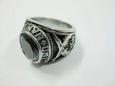 men's gothic black stone biker finger ring stainless steel PUNK size 8