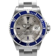 Men's Rolex Submariner Stainless Steel Silver Serti Sapphire Dial Blue 60min Bezel Oyster Band