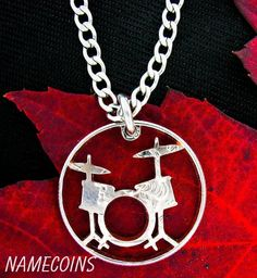 Drum Set Necklace, Rockers jewelry hand cut coin by NameCoins Black Gold Jewelry, Copper Jewelry, Unique Jewelry, Music Jewelry, Coin Jewelry, Jewlery, Drums Quotes, Drum Lessons For Kids, Drum Tattoo