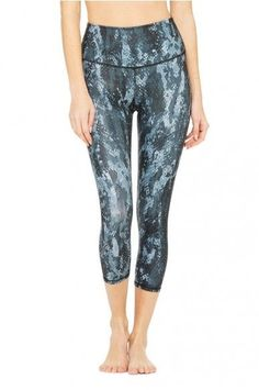 5e27f791154396 ALO YOGA High-Waist AIRBRUSH Capri Legging Black Python Glossy SMALL NEW  $82 #Alo