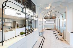 Milk Train Arrives in London's Covent Garden in Art Deco Playfulness Retail Interior Design, Commercial Interior Design, Cafe Interior, Commercial Interiors, Design Café, Cafe Design, Store Design, Design Shop, Covent Garden