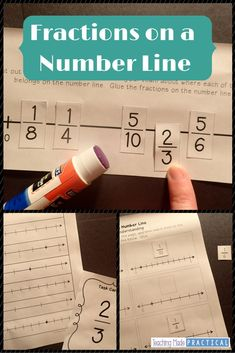 Fractions on a Number Line Activities - Hands On, No Prep Fraction Activities Teaching Fractions, Math Fractions, Teaching Math, Equivalent Fractions, Teaching Ideas, Fraction Activities, Math Resources, Math Activities, Math Games