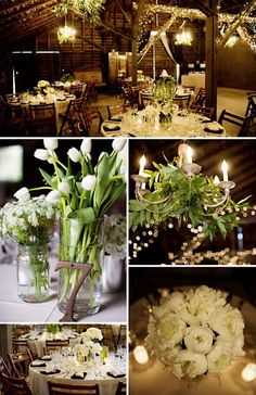 centerpieces and chandelier