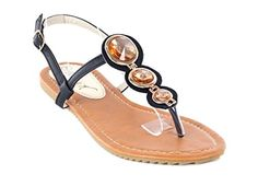Victoria K Women Black Open Toes Flat Threestone Thong Sandals 10 -- For more information, visit image link.