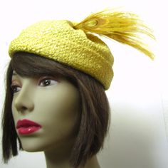 Vintage 50s Yellow Straw Hat with Peacock Feathers / by MKRetro, $55.00