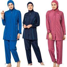 Argisa 7102 Long Sleeve Solid Plain Full Hijab Swimwear S-5XL Plus Size Muslim Hijab Islamic Swimsuit Burkini Turkey Full Cover swim  ❤️ Pin it please on your board Hijab Islam, Swim Cover, Swimsuits, Swimwear, Chef Jackets, Raincoat, Swimming, Plus Size, Boys