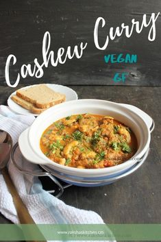 Cashew curry or Kaju curry is a delicious vegetarian dish made with cashewnuts in a tangy and spicy coconut-based gravy. Served for parties. Cashew Recipes, Vegan Indian Recipes, Beef Recipes, Vegetarian Recipes, Healthy Recipes, Spicy Recipes, Easy Recipes, 30 Minute Meals, Delicious Dinner Recipes