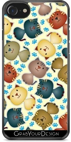 GrabYourDesign - Case for Iphone Cute Cats with Paws on the Bac - by Cat Christmas Ornaments, Christmas Cats, Cool Iphone Cases, Cat Gifts, Ipad Case, Cute Cats, Iphone 7, Create Your Own, Personalized Gifts