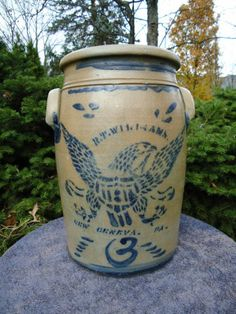 14in tall. 3 gal. Fab Eagle!!! R. T. Williams, New Geneva Pennsylvania Stoneware 3g Jar with Federal Eagle