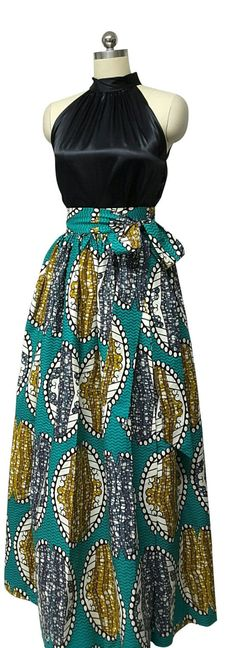 African Print Wrap Maxi Skirt with Sash Waistband. Inside