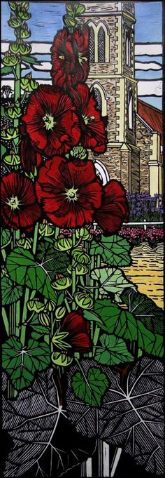 """Churchyard Hollyhocks"" - Gail Kellett"